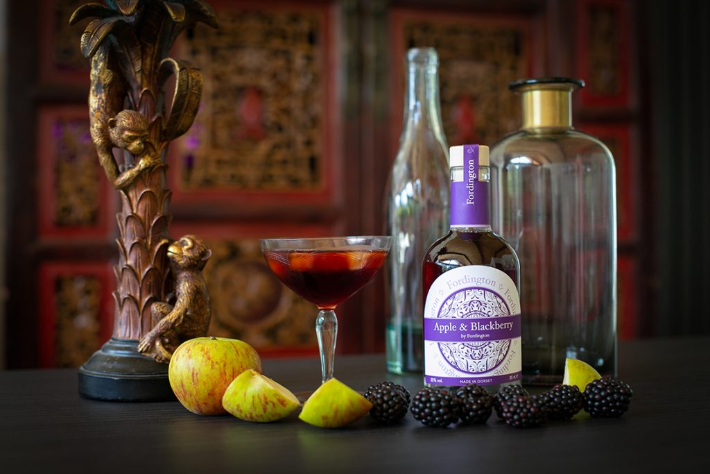 Apple and Blackberry Fordington Gin - creative product photography Dorchester
